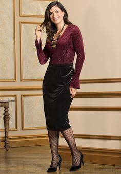 The Glam Life | Bring luxury to the holiday season in our velvet burnout bodysuit, featuring beautiful bell sleeves. A velvet pencil skirt and polka dot tights add an exquisite finish to this look.