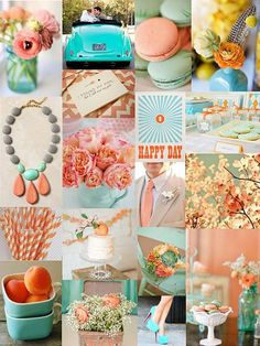 Peach and Aqua: Bright and cheerful. This year is all about the orange/peach. Teamed with aqua (or thereabouts) it makes for a wonderfully delicious spring to summer palette. Though it can be taken through to Autumn, muting it with shades of gray and gold.