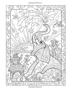 Amazon.com: The Art of Marjorie Sarnat: Elegant Elephants Adult Coloring book