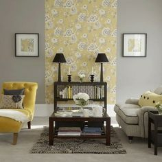 Creating a focal point (much like a fireplace, large mirror, etc), but using a strip of wall paper.