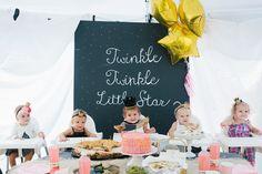 6th Street Design School: Jane's Twinkle Twinkle Little Star First Birthday Party mini glitter crowns by peppermintandswish