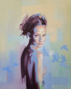 Anna Blou by Solly Smook Abstract Portrait, Portrait Art, Figure Painting, Painting & Drawing, Expressive Art, Face Art, Figurative Art, Painting Inspiration, Art Drawings