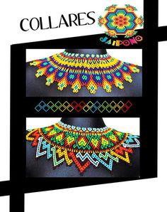 Beaded Collar, Beaded Choker, Beaded Jewelry, Beaded Bracelets, Bead Loom Patterns, Beading Patterns, Mexican Jewelry, Beaded Crafts, Filets