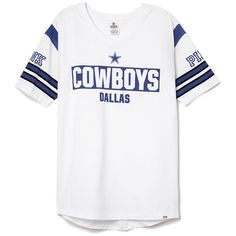 PINK Dallas Cowboys V-Neck Jersey ($55) ❤ liked on Polyvore featuring tops, blue, slouchy tops, pink top, white v neck top, jersey tops and long white top