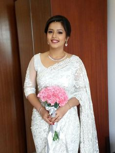 White saree Kerala Wedding Saree, Kerala Bride, Saree Wedding, Wedding Bride, Wedding Gowns, Wedding Blessing, Bridal Sarees, Christian Wedding Sarees, Christian Bride
