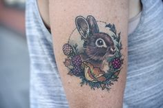 Wonderland Tattoos - Healed bunny, blackberries, and poppies by Alice...