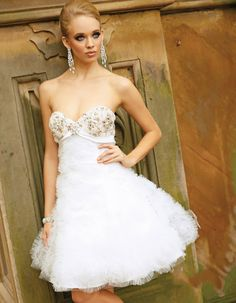 Ball Gown Beaded Ruffled White Prom Dress for Party