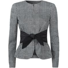 Armani Collezioni Collarless Tweed Jacket (1 520 AUD) ❤ liked on Polyvore featuring outerwear, jackets, blazers, collarless tweed jacket, hounds tooth jacket, armani collezioni, houndstooth jacket and armani collezioni jacket