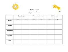 This user-friendly behavior chart is effective and motivating for young students.  Designed especially for children with ADHD, it focuses on three target behaviors:  staying in area, showing attention to lessons, and finishing work.  This is a great tool for collecting data for intervention team meetings, and is a good way to communicate weekly behavior information with parents.