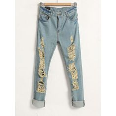 Hollow Mid-waist Solid Blue Jeans ($36) found on Polyvore
