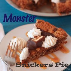 Monster Snickers Pie - a giant monster cookie, filled with Snickers, caramel, and chocolate ganache. Nothing scary about that! | Cupcakes & Kale Chips