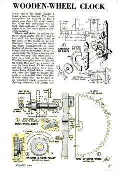 Wooden Gear Clock | August 1964 Popular Mechanics, p. 156