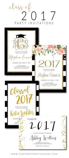 Gold Polkadot Glitter Class of 2018 Party invite