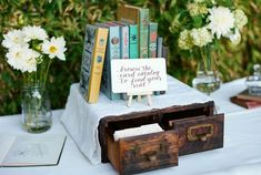 I adore this book themed wedding! Guests search the card catalog for their placecard, table names, bookmarks and favors all are book themed. Wedding Table Themes, Wedding Reception Planning, Romantic Wedding Receptions, Vintage Wedding Theme, Romantic Weddings, Wedding Planner, Nautical Wedding, Antique Wedding Decorations, Wedding Binder