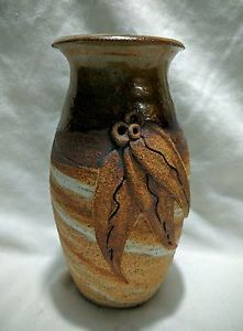 Vintage Tannery Lane Pottery Vase With Applied GUM Leaf Australian Pottery | eBay