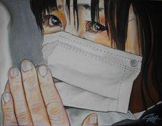 CHIFUYU, la douleur Pastel sec sur papier abrasif 30 x 40 cm http://www.artmajeur.com/catherinewernette/