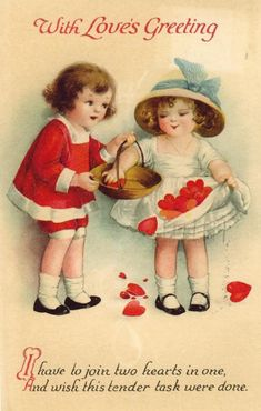 With Love's Greeting ~ vintage Valentine card of children with hearts