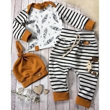 Baby boy gift for baby showers. This high quality newborn boy clothes is printed with stripe pattern. The baby boy clothes comes with 3 pieces, hat, shirt and pant. Baby Outfits Newborn, Baby Boy Newborn, Baby Girls, Toddler Girls, Kids Outfits Girls, Girl Outfits, New Born Outfits Boy, Family Outfits, Boho Outfits