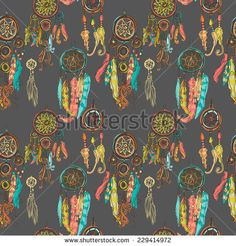 Seamless vector illustration with dream catchers on the black background. Vector illustration