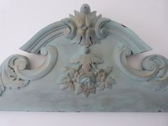 Large Antique French pediment, blue w gold handcarved wooden architectural salvaged hanging canopy, floral fronton for architecture decor Pale Blue Paints, French Armoire, Blue Home Decor, Headboards For Beds, Blue Tones, French Vintage, French Antiques, Hand Carved, Carving