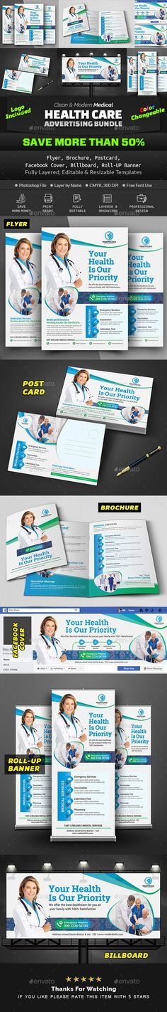 Buy Medical Health Care Advertising Bundle by Creative-Touch on GraphicRiver. This Advertising Bundle is perfectly suitable for promoting your Business. You can also use this templates in multipu. Medical Health Care, Advertising, Ads, Promote Your Business, Print Templates, Letter Size, Priorities, Billboard, Creative