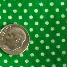 VINTAGE 80s Dotted Green & white polka dot Fabric Cottin Blend holiday 2y craft  #BigBoyTumbleweed