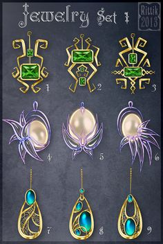 Jewelry Set 1 by Rittik-Designs on DeviantArt