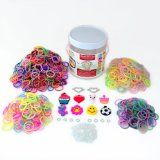 "Over The Rainbow Loom Bands 1260 Piece Deluxe ""Friendship"" Kit, 2 High Quality Metal Heart Charms with Imitation Gems and 8 Fun Silicone Charms, 600 Solid Color Bands, 300 Glitter, 200 Glow in the Dark, 100 Tie-dye (Refill Set Has a Total"