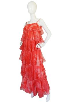 1960s Tiered & Ruffled Silk Chiffon Coral Maxi Dress