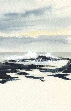Sea Paintings, Brush Strokes, Gouache, Watercolor Paintings, Ocean, Clouds, Illustrations, Mountains, Travel