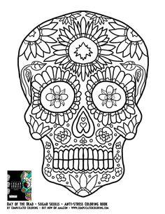 day of the dead dia de los muertos sugar skull coloring page for adults kleuren voor