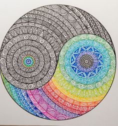 Original A4 Yin Yang Mandala by madebymelw on Etsy