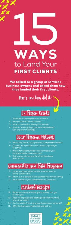 Finding clients as a new business owner is critical to your success. *Pin this post for 15 ideas from services business owners on where to find your first clients.*  #clientattraction #startup #businesstips via @smallbusinessboss