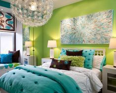 Girls Bedroom With Green Painted Wall And Blue Blanket Plus Unique Pendant  Lamp As Well As Teen Girls Room And Green Bedroom Paint, Lovely Chic Green  And ...