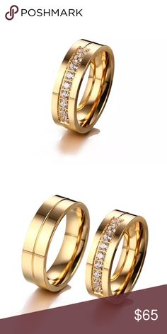Coming Soon Men's  Trendy Lovers Wedding Bands Trendy Lovers Wedding Bands Rings for Men Love Gold-color CZ Stone Stainless Steel Gentlemans Boutique Accessories Jewelry