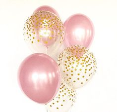 Welcome to Sweet Escapes By Debbie This listing is for 3 pearl pink and 3 clear with gold polka dots 11 latex balloons. ~ Balloons ship flat & deflated ~ The balloons arrive in a flat package they need to be inflated. For helium you can take them to your local party store or