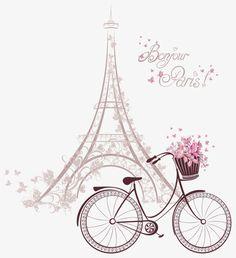 Bonjour Paris text with tower eiffel and bicycle. Romantic postcard from Paris. Paris Party, Paris Theme, Thema Paris, Paris Kunst, Art Parisien, Paris Wallpaper, Paris Images, I Love Paris, Graphic Design Art