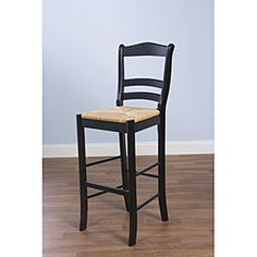 @Overstock - This black bar stool will bring a touch of rustic class to your counter or tall bistro table. It is constructed of polished black rubberwood in a ladderback design. The woven rush seat is at a height of 30 inches and sized for a comfortable perch.http://www.overstock.com/Home-Garden/Parker-Black-30-inch-Stool/5473335/product.html?CID=214117 $75.59