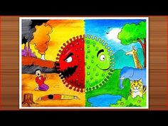 Art Discover How to draw Coronavirus drawing - Two sides of a story - covid 19 on nature poster painting Save Water Drawing, Save Earth Drawing, Nature Drawing For Kids, Art Drawings For Kids, Earth Drawings, Drawing Competition, Environment Painting, Oil Pastel Drawings, Poster Drawing