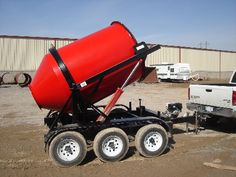 Portable Concrete Mixer with Custom Red Paint Dump Trailers, Custom Trailers, Custom Trucks, Equipment Trailers, Lawn Equipment, Heavy Equipment, Accessoires 4x4, Garage Atelier, Tractor Accessories