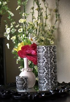 1 set of 12 Regal Damask Vase/Candle Wraps for by DamaskDiva, $33.00