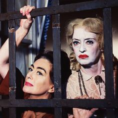 Joan Crawford and Bette Davis in publicity photos for Whatever Happened to Baby Jane? (1962)