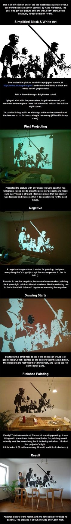 How to project an image on a wall to paint a mural (click-through for tutorial on making the projected picture itself)