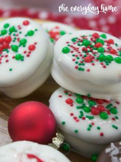 White Chocolate Covered Oreos with Sprinkles   2015 Christmas Cookie Exchange