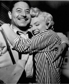 Marilyn with William Travilla the man who made many of Marilyn's famous clothes for her movies eg: 'Gentlemen Prefer Blondes'