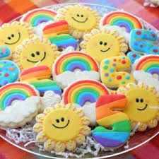 rainbow birthday platter from cookies with character. I might make the rainbow ones for Madailein's birthday party. Summer Cookies, Fancy Cookies, Iced Cookies, Cute Cookies, Cupcake Cookies, Cupcakes, Rainbow Parties, Rainbow Birthday Party, Birthday Blast