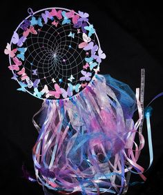 Dream catcher with pink, purple and blue butterflies, butterfly dreamcatcher by SweetDreamsSparkle on Etsy Diy Crafts For Girls, Arts And Crafts, Dream Catcher Pink, Dream Catchers, Butterfly Bedroom, Pink Bedroom For Girls, Butterfly Decorations, Unicorn Crafts, Baby Wall Art