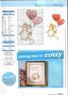 Buttons birthday w/balloonsx-stitch;mouse with heart balloons Tiny Cross Stitch, Cross Stitch Cards, Cross Stitch Animals, Counted Cross Stitch Patterns, Cross Stitch Designs, Cross Stitching, Cross Stitch Embroidery, Embroidery Patterns, Margaret Sherry