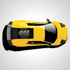 Lamborghini car top view. Free vector illustration