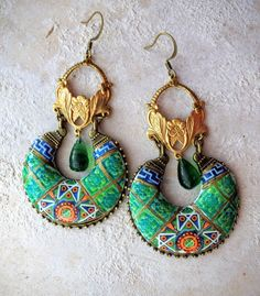 Portugal Antique Azulejo Tile GREEN Chandelier Earrings by Atrio